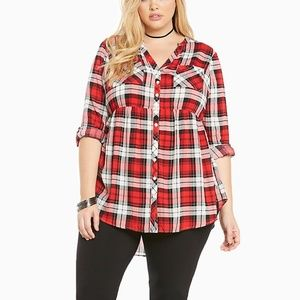 Torrid Red Plaid Challis Button Front Tunic